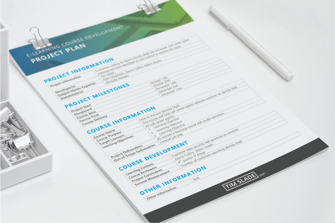 eLearning Project Plan Template