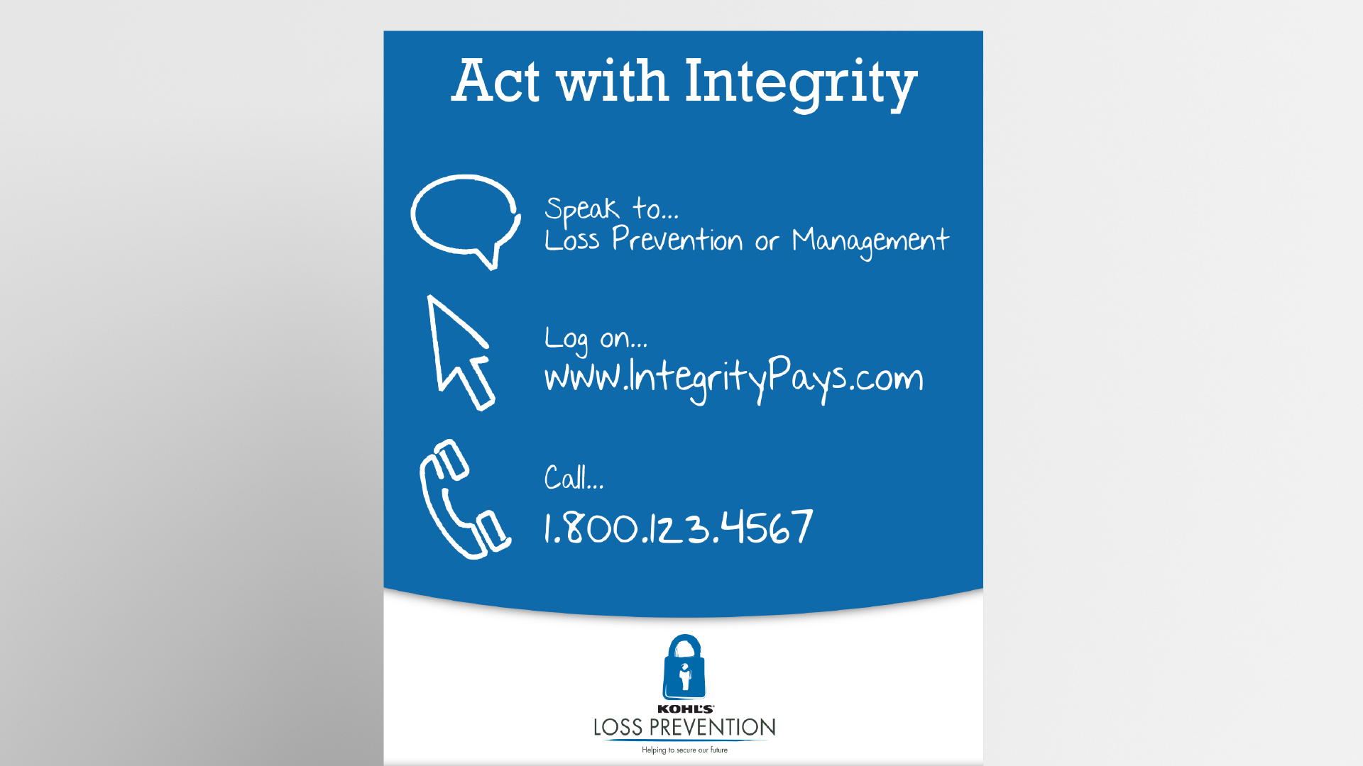 Tim Slade's eLearning Portfolio | Kohl's Act with Integrity poster Custom eLearning Development & Design graphic design