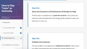 Tim Slade's eLearning Portfolio | GoDaddy Call Opening eLearning | Custom eLearning Development & Design